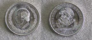 1973 Silver Mexico 5 Peso Coin Migual Hidalgo Y Costilla