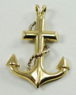 1350674797_14K Yellow Gold Pendant Cross Anchor Nautical Rope Designer