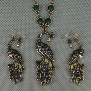 Antiqued Bronze Peacock Pendants Necklace Earrings Jewelry Sets