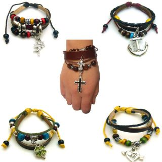 Rock Womens Mens Multielement Knit Cross Heart Leather Bracelet