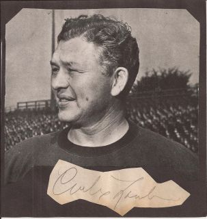 CURLY LAMBEAU Autograph Football Hall of Fame Green Bay Packers Died