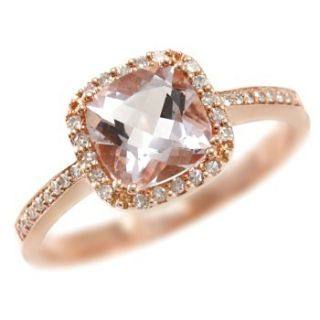 CUSHION CUT AMETHYST & DIAMONDS 14K ROSE GOLD COCKTAIL ENGAGEMENT RING