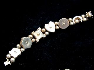 ANTIQUE GOLD TONE SLIDE CHARM BRACELET*CRESCENT MOON*CAMEO*CREST*HEAVY