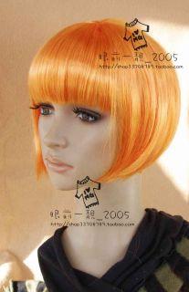 Short Bob Synthetic Hair Wig Light Orange Pink Blue GLD
