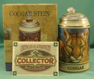 Budweiser Endangered Species Cougar Stein with Box COA CS253 Anheuser