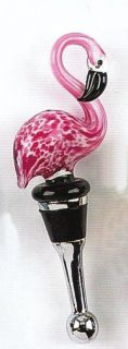 Tiki Pink Flamingo Wine Bottle Glass Art Topper Stopper