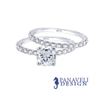 20 Ct Cushion Cut Diamond Engagement Ring Wedding Band 18K White