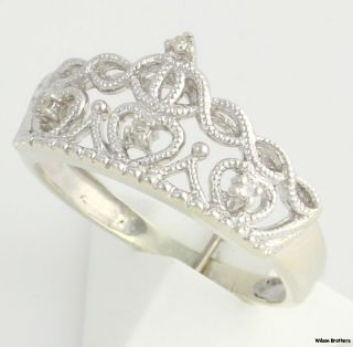 04ctw Genuine Diamond Crown Ring   10k White Gold Accent Open Cut