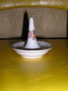 GDR Crown German Porcelain Flower Sprigged Ring Keeper Holder