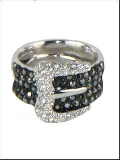 New Kenneth Jay Lane KJL Black Pave Buckle Ring Size 5 9
