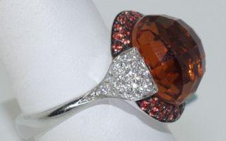 CRIVELLI 18 KT. WHITE GOLD DIAMOND SAPPHIRE AND CITRINE RING