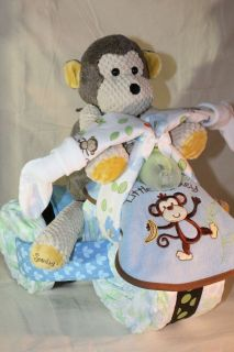Custom DIAPER TRIKE MONKEY gift baby shower diaper cake SCENTSY
