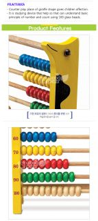 Wooden Educational Abacus 100 Beads Counting Number Play Toys Gireffe