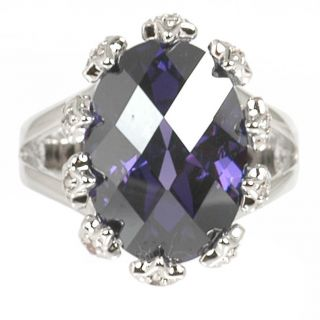 Sale Checkerboard Cut Amethyst CZ Cocktail Ring Size 10 Only