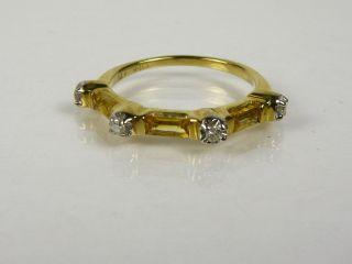 25ctw Genuine Step Cut Citrine & Diamond 14k Yel Gold Band Ring 2.1g