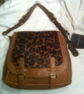 Cynthia Rowley Leopard Fur Hair Leather Saddle Messenger Bag $395