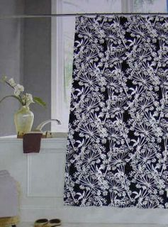 Crystal Bay Adelais Black and White Flowers Vinyl Shower Curtain New
