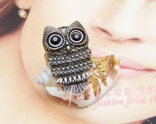 3pcs Ancient Bronze Plated Cute Owl Rings 1