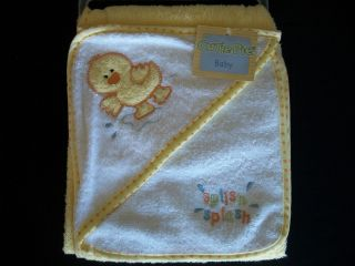 Cutie Pie Baby Splish Splash Yellow Duck Towel Washcloth Set NEW WITH