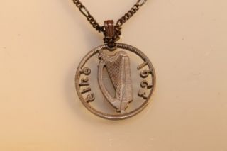 Vintage 1963 Cut Ireland Coin Necklace Eire Harp Sterling Silver Chain