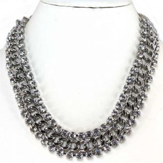 Gorgeous Clear Crystal Curb Chain Statement Necklace Necklace