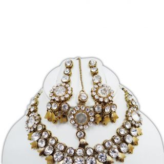 Indian Gold Tone White CZ Wedding Necklace Set Traditional Bridal