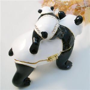 Panda Family Bejeweled Trinket Box w Swarovski Crystal