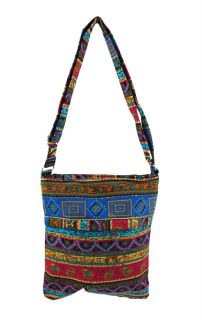 Multi Colored Patterned Canvas Crossbody Bag Color Multi