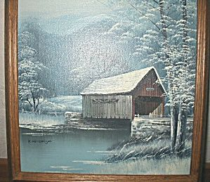 painting covered bridge michaelson winter snow scene oil painting