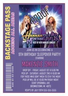 Hannah Montana Miley Cyrus Backstage Pass Invitations