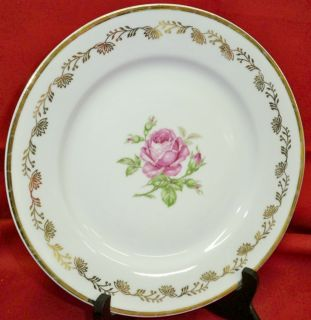 MZ Czechoslovakia China Plate Pink Rose Gold Trim VGUC
