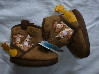 NWB BOYS SIZE 7 8 DISNEY PIXAR TOY STORY COWBOY BOOT SLIPPERS