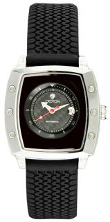 Croton CN307065BSSS Mens Black Dial Rubber Strap Automatic Watch