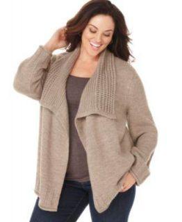 Karen Scott Pointelle Cozy Brown Women Sweaters Sz 3X