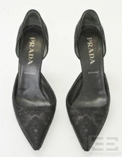 Prada Black Jacquard Print Point Toe DOrsay Heels Size 39