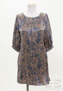 Dahl Brown & Blue Printed Silk 3/4 Sleeve Shift Dress Size M