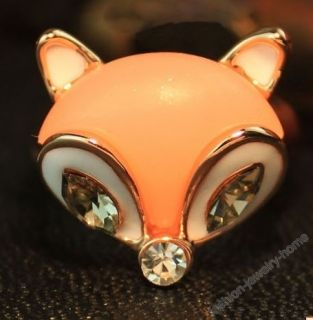 Fashion Gold Plated Clear Crystal Fox Ring Size US 7