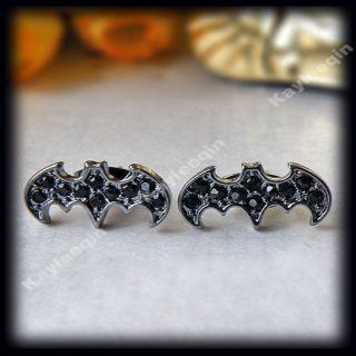 Black Crystal Bat Batman Earring Ear Stud Dark Knight Gothic Punk Emo
