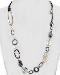 Long Silver Filigree Metal Art Bead Glass Crystal Necklace