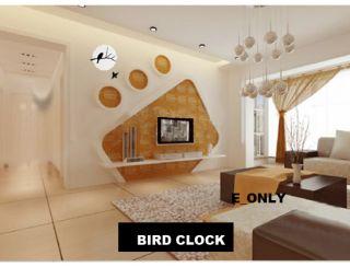 Art Modern Bird Style Decor Design Crystal Wall Clock