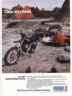 Print Ad 1974 HARLEY DAVIDSON SX 175 Clear Your Head Camping In Desert