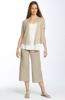 Eileen Fisher Crop Linen Cardigan, Tank & Cargo Pants