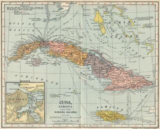 Cuba Jamaica Bahamas Map Authentic 1902 Dated Towns Ports Havanah