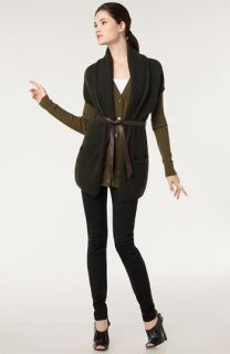 Vince Ribbed Tank, Cashmere Cardigan & Wool Vest with Knit Riding Pants