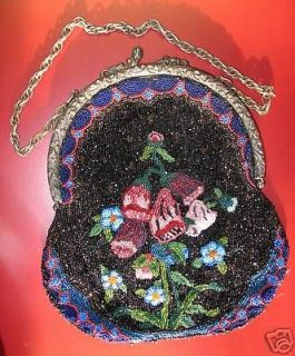 GLASS BEADED PURSE W/ORNATE SILVER PLATED FRAME c.1880