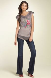 Bellatrix Embroidered Silk Top & Hudson Jeans Bootcut Stretch Jeans