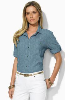 Lauren by Ralph Lauren Carter Long Sleeve Shirt & Easy Money Jean Company Jackpot Stretch Denim Shorts
