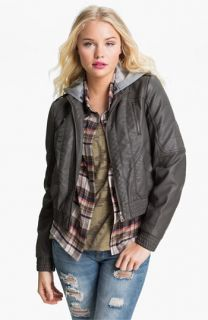 Collection B Hooded Faux Leather Bomber Jacket (Juniors)