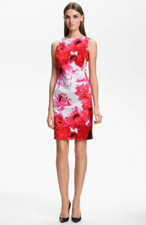 St. John Collection Chrysanthemum Print Stretch Sateen Dress