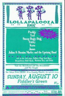Tool Snoop Dogg Damian Marley Korn Lollapalooza Concert Poster 1997